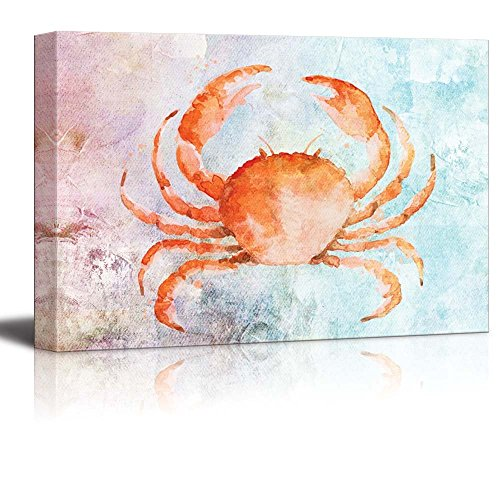 wall26 Watercolor Painted Orange Crab on a Vintage Background - Canvas Art Home Decor - 32x48 inches