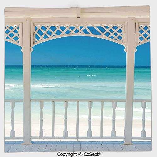 AmaUncle Quick-Dry Square Towel,Romantic Wooden Terrace with View of Tropical Beach in Cuba Pavilion,Highly Absorbent Cleaning(13.77x13.77 inch),White Aqua Blue