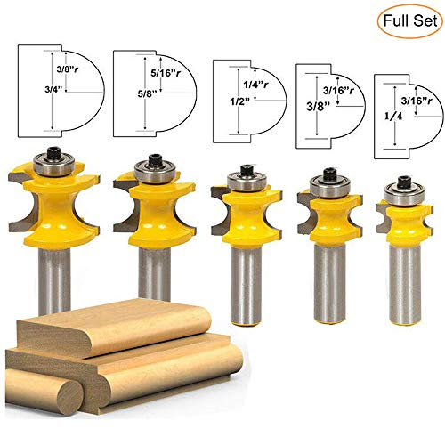 """LETBUY 1/2 Inch Shank Bullnose Router Bit 5PCS,Half Round Bearing Carbide Tipped Round Edge Cutting Bits, Radius 1/8"""" 3/16"""" 1/4"""" 5/16"""" 3/8"""", Woodworking Tool Milling Cutter CNC Router Tool"""