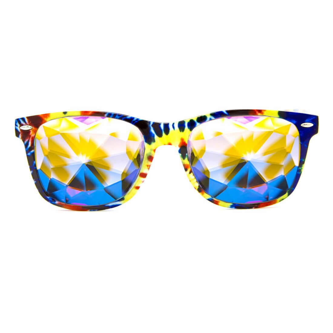 GloFX Tie Dye Kaleidoscope Glasses - Rainbow EDM Rave Light Diffraction Eyewear Edge Cut