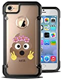 iPhone 7 Case Poo Poop Emoji Floral Crown Funny Meme Peace Hybrid Transparent Designer Case Cover For Teens Girls Women. Fits iPhone 7 7S [ KlypsterMax ]