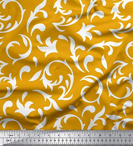 Soimoi Gold Rayon Fabric Filigree Damask Print Fabric by The Yard 42 Inch Wide
