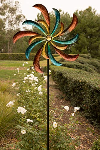 Garden Swirl - Alpine Corporation SLL1874 Colorful Swirl Kinetic Wind Spinner Garden Stake, 64 Inch Tall, Multi
