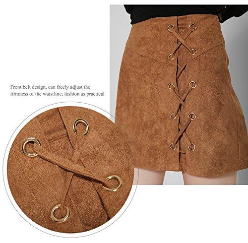 Feicuan Mujer High Waist Zipper Falda Corto De Ante Imitación A-lìnea Midi Falda -A11 Khaki