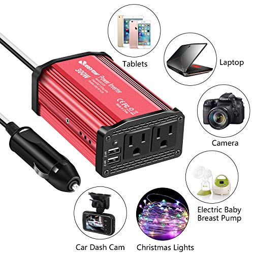 Quesvow 300W Power Inverter DC 12V to 110V AC Converter 4.8A Dual USB Car Charger Adapter-Red by Quesvow (Image #1)