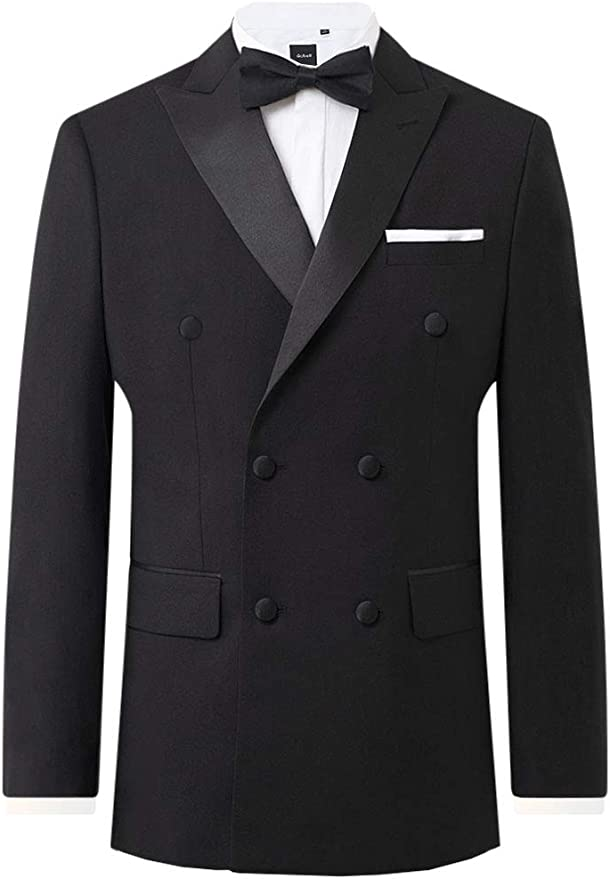 1920s Men's Fashion UK | Peaky Blinders Clothing Dobell Mens Black Tuxedo Jacket Regular Fit Peak Lapel Double Breasted £74.99 AT vintagedancer.com