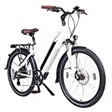 NCM Milano 48V, 26' Trekking E- bike, 250W Das-Kit Rear Motor, 13AH 624Wh Li-Ion Battery with High Power Cells, Mechanical Disc Brakes, 7 Speed (26' White)