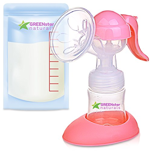 Advanced Breast Pump Set W/ Bottle & Bags: Easy, Hand-Free Breastfeeding for Mom. Small, Discreet & Portable Manual Breast Milk Suction Tool w/ Handle. Great Baby Feeding Pumps & Accessories