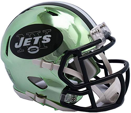 New York Jets Memorabilia - Riddell New York Jets Chrome Alternate Speed Mini Football Helmet - NFL Mini Helmets