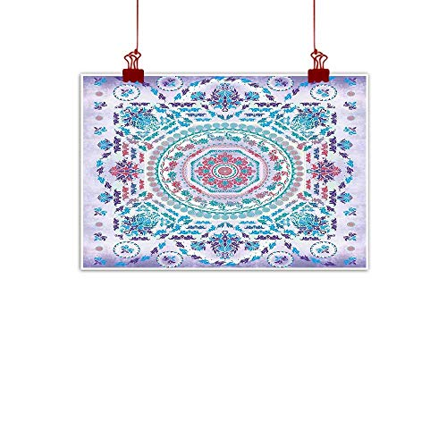 - Sunset glow Artwork Office Home Decoration Mandala,Medallion Design Floral Patterns and Leaves Boho Hippie Style Prints,Turquoise Pink and Purple 36