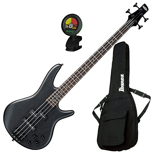 4 Black Bass Guitar - Ibanez GSR200B Weathered Black 4 String Bass Guitar w/ Gig Bag and Tuner