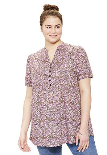 Bargain Catalog Outlet Woman Within Plus Size Pintuck Floral Print Tunic  Mauve Orchid Mini Garden L