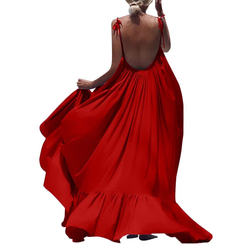 Winsummer Women's Strappy Backless Beach Maxi Dress Evening Party Long Dress Summer Sundress Red