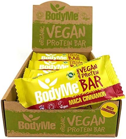 BodyMe Bio Vegan Protein Riegel   Roh Maca Zimt   12 x 60g Vegane Proteinriegel   Glutenfrei   16g Komplette Veganes...