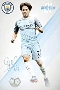 """Manchester City - Soccer Poster / Print (David Silva #21 - 2016/2017) (Size: 24"""" x 36"""") (By POSTER STOP ONLINE)"""