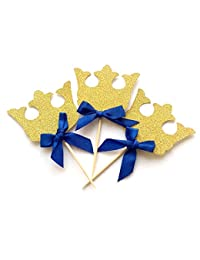 Crown Cupcake Toppers, 12 Pack Crown Boy Birthday Party Cupcake Topper, Royal Prince Baby Shower Decorations, Gold Crown Cupcake Toppers with Blue Bow, King Prince Baby Shower Decorations BOBEBE Online Baby Store From New York to Miami and Los Angeles