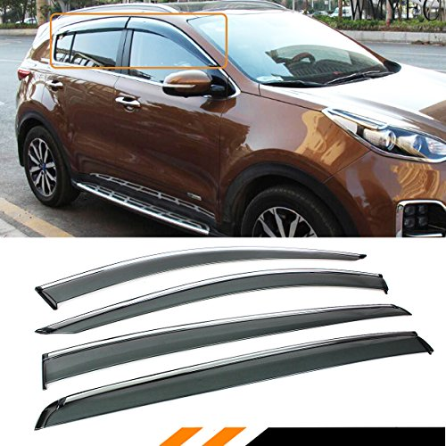 Cuztom Tuning for 2017-2018 KIA SPORTAGE Premium Clip ON Chrome Trim Window Visor RAIN Guard Deflector