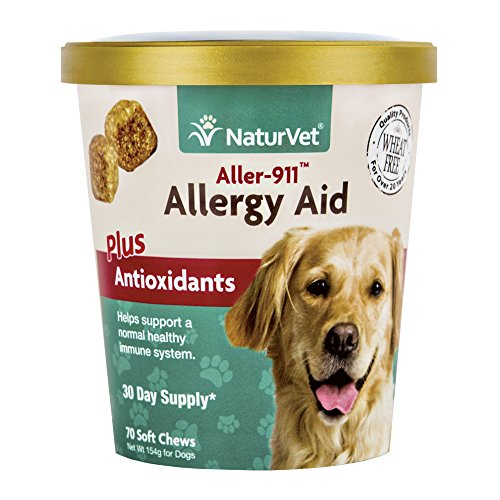 NaturVet Aller-911 Allergy Aid Supplement, Skin & Respiratory Health Plus Antioxidants, Support a Healthy Immune System for Your Dog, Made by