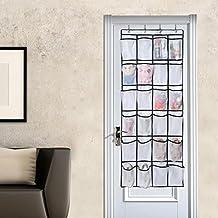 """Over the Door Shoe Organizer,24 Large Mesh Pockets,Heavy Duty Door Shoe Rack with 4 Steel Door Hooks,58.5""""x 23"""" (White)"""