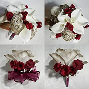 Champagne Burgundy Rose Calla Lily Bridal Wedding Bouquet & Boutonniere 39