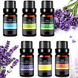 Essential Oils Set, Aiemok 6 x 10ml Essential Oils Gift Set 100% Pure Therapeutic Grade Fragrance Oil Aromatherapy Oils…