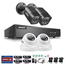 ANNKE 4-Channel HD-TVI 720P Video Security Camera System, 1080N Surveillance DVR Recorder and (4) 1.0MP 1280TVL IP66 Weatherproof Outdoor/Indoor Dome/Bullet CCTV Camera with Night Vision, NO HDD