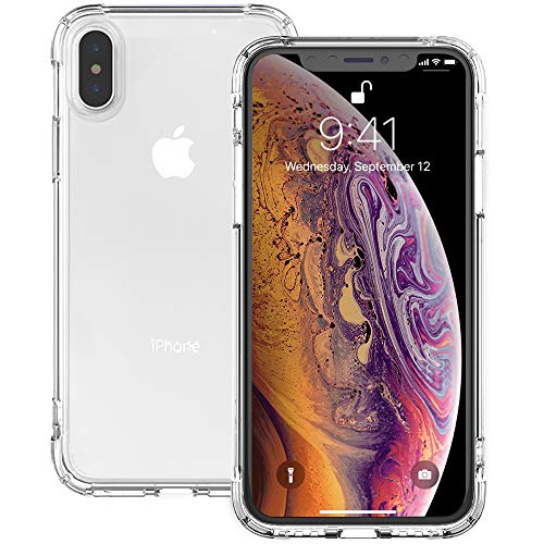 iPhone Xs Max Case Clear, IVSUN Shockproof Anti-Yellow TPU iPhone Xs Max Case 6.5″ Silicone Rubber Cover Anti-Watermark