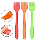 """Silcony Set of 3 Pure Silicone BIG SIZE 10"""" Heat Resistant Basting Pastry Brushes - Perfect for BBQ, Grilling, Baking, Marinating Meat, Steaks, Spring Rolls & Much More- Assorted Colors"""