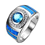 PSRINGS Round Blue Opal Ring White Gold Filled Fashion Jewelry Promise Engagement Rings 9.0