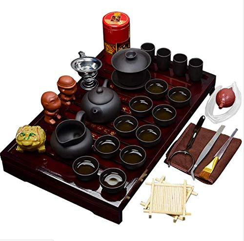 Chaowei Kungfu Tea Set Chinese/Japanese Style Traditional Ceramic Gifts Purple Clay Tea Can/Cup and Bamboo Tea Trays