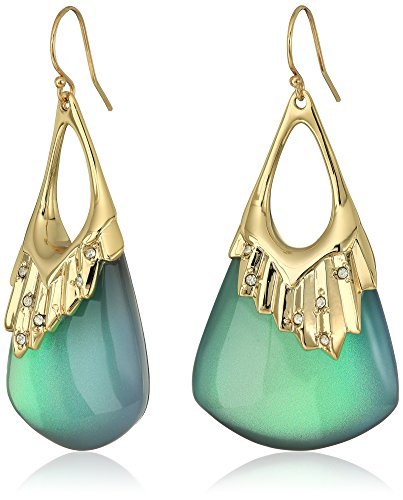 Alexis Bittar Crystal Studded Pleated Wire Green Drop Earrings