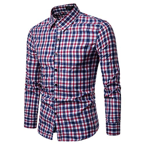 - Rakkiss_Men Shirts Fashion Plaid Blouse Casual Leaf Tops Long Sleeve Summer Tee Red
