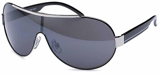 Stylische Unisex Sonnenbrille Monoscheibe mit Kontrastlinie UV 400 Filter und CE-Prüfzeichen- Im Set mit Etui (Grau) qtTzGukNT