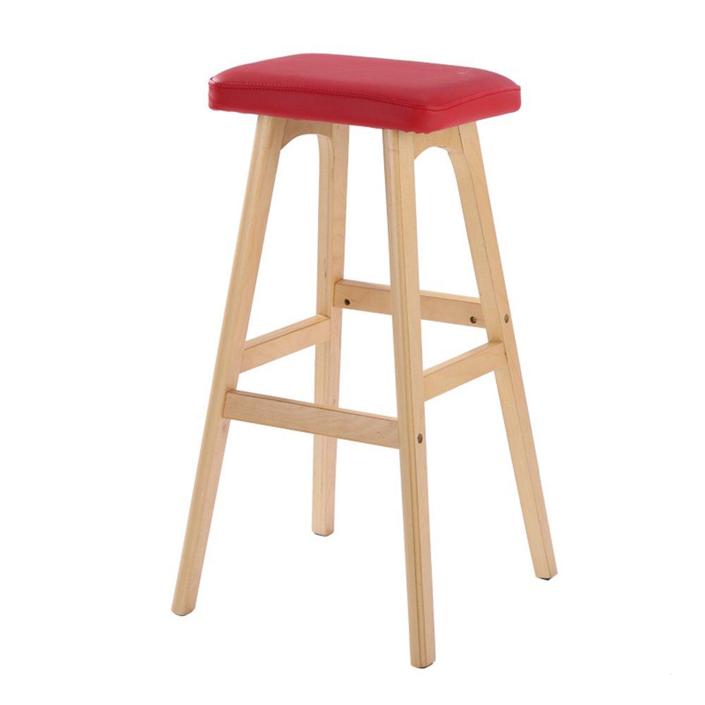 XIAOYAN ノルディックスタイルのバースツール高品質の素材+無垢材の実用的なオフィスチェア家庭用ハイスツールフロントベンチ黒白カキ茶赤緑 (色 : 赤) B07DNM4TMY 赤 赤