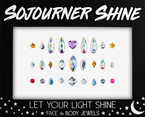 Face Jewels Glitter Gems Rhinestones – Eye Body Jewels Gems | Rhinestone Stickers | Body Glitter Festival Rave & Party Accessories by SoJourner (Assorted Jewels 3)