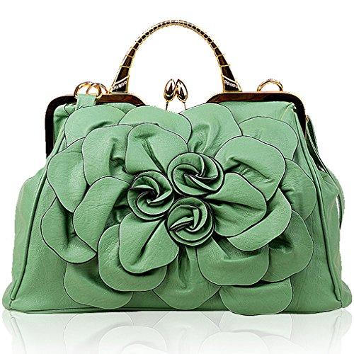 Verde Hierba Flores Cuero Mujer Kaxidy De Asas Mano Bolso Pu zn86Cw