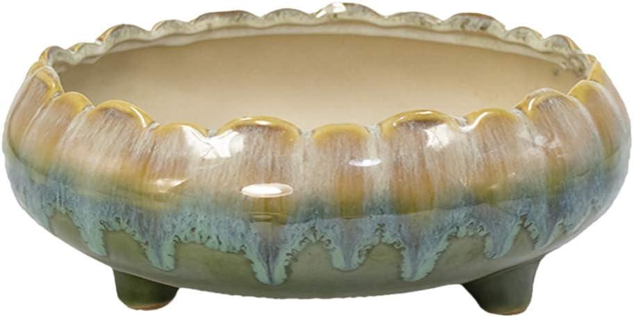 Dahlia 8.3 Inch Large Shallow Drip Glazed Ceramic Planter Succulent Pot Plant Pot, Green