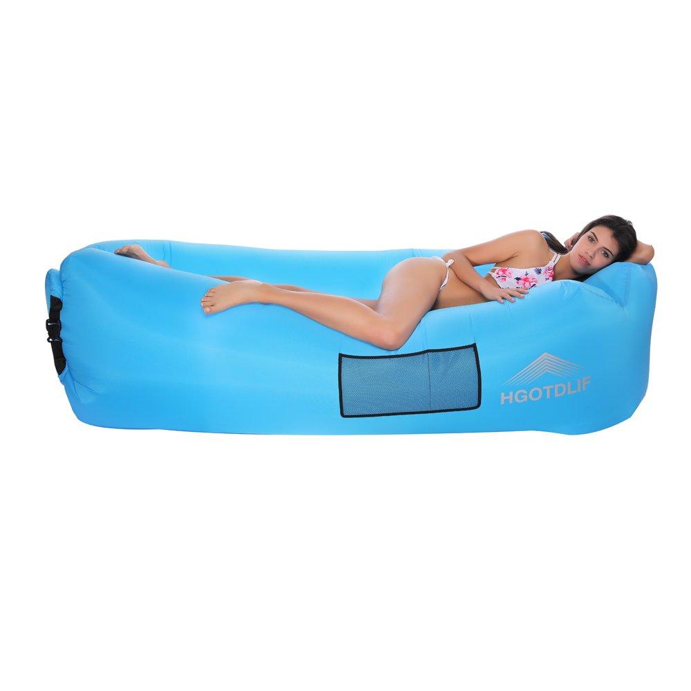 Sofá inchable portátil; cama, tumbona inflable; ideal para descansar, acampar, para llevar a la playa, a los días de pesca, para niños, para fiestas, Q7, ...