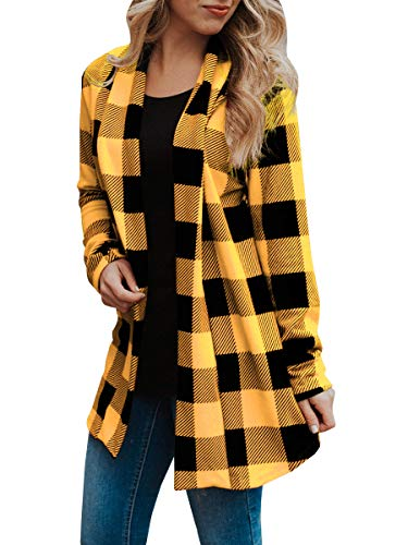 Patch Yellow T-shirt - Womens Buffalo Plaid Long Sleeve Plus Size Open Front Elbow Patch Cardigans Yellow