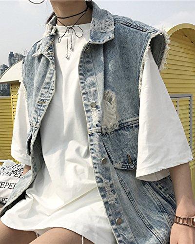 Lache Denim Bleu Sans Manches Blouson En Oversize Veste Femme Boyfriend Jean Clair Vintage ZAAwYq