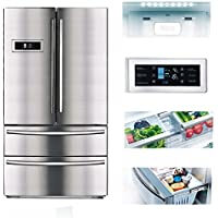 SMETA 20.7 Cu ft Freestanding Counter Depth French Door Refrigerator Family Size Food Storage with Ice Maker in Stainless Steel