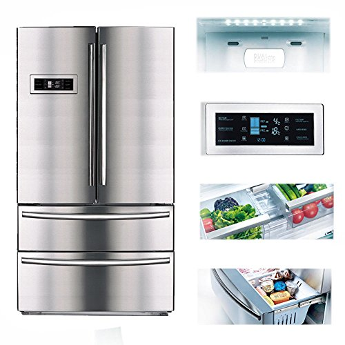 SMETA 20.7 Cu ft Freestanding Counter Depth French Door Refrigerator Family Size Food Storage with Ice Maker in Stainless Steel Counter Depth French Door Refrigerator