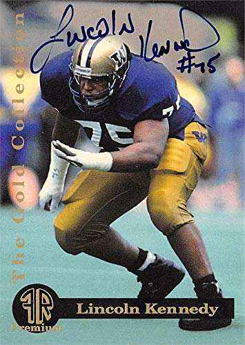 (Lincoln Kennedy autographed Football Card (Washington Huskies) 1993 Front Row Premium Gold Rookie #3)