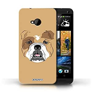 KOBALT? Protective Hard Back Phone Case / Cover for HTC One/1 M7 | Dog/Bulldog Design | Animal Faces Collection