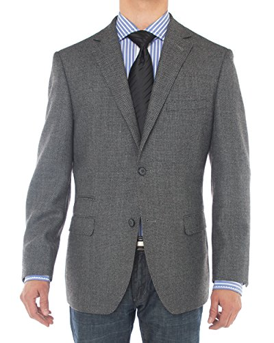 LN LUCIANO NATAZZI Mens Two Button 160'S Wool Blazer Working Buttonholes Jacket (48 Regular US / 58 Regular EU, Charcoal)