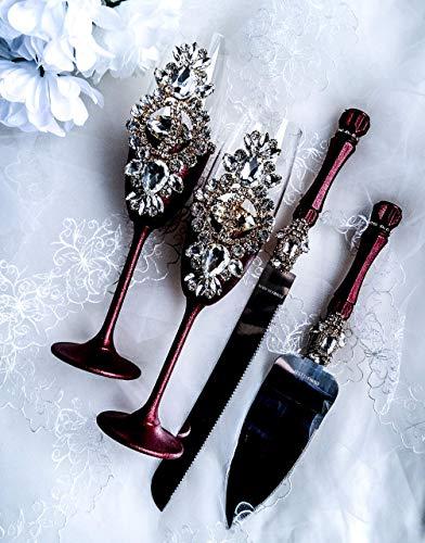 Burgundy and gold wedding toast flute and cake server set Crystal wedding glasses Engraved cake cutting set Champagne flutes and cake knife (Wedding Set Engraved)