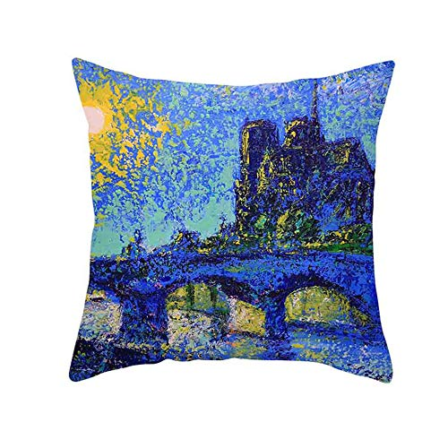LOKODO Retro Cushion Cover London Paris City Street Scenery Pillowcase Home Decor
