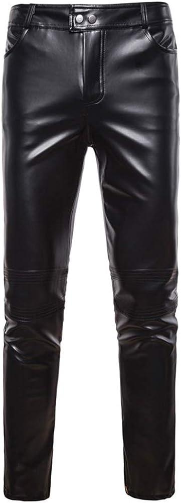 oneforus Hombres Pantalones de Cuero de Imitación, Moda Slim Fit Leggings Pantalones Casuales con Cremallera