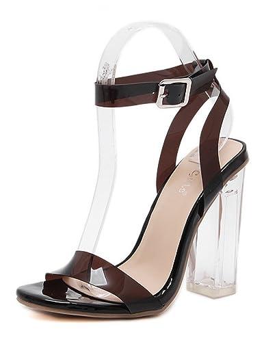 Aisun Damen Sexy High TopTransparent Schnürung Cut Out Peep-Toe Sandalen Mit Reißverschluss schwarz 38 gOn8jI