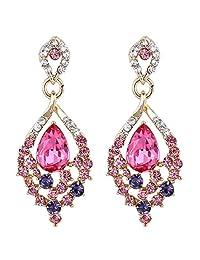EleQueen Women's Gold-tone Austrian Crystal Teardrop Dangle Chandelier Sparking Earrings